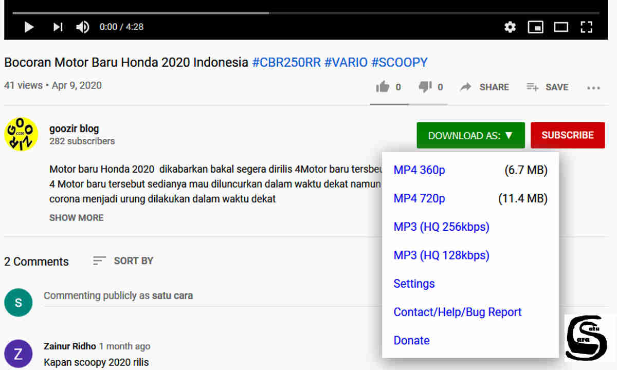 Download Youtube dengan extension mozilla